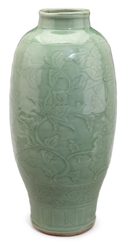 Chinese Celadon Vase Ming Dynasty Slender Vase With Underglaze