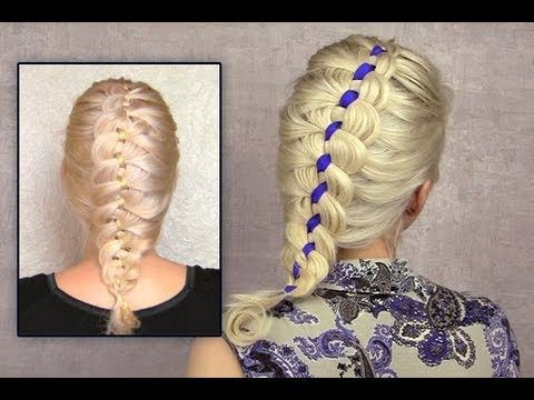 The Four Strand Braid Using A Ribbon Alldaychic Four Strand Braids Hair Styles French Braids Tutorial