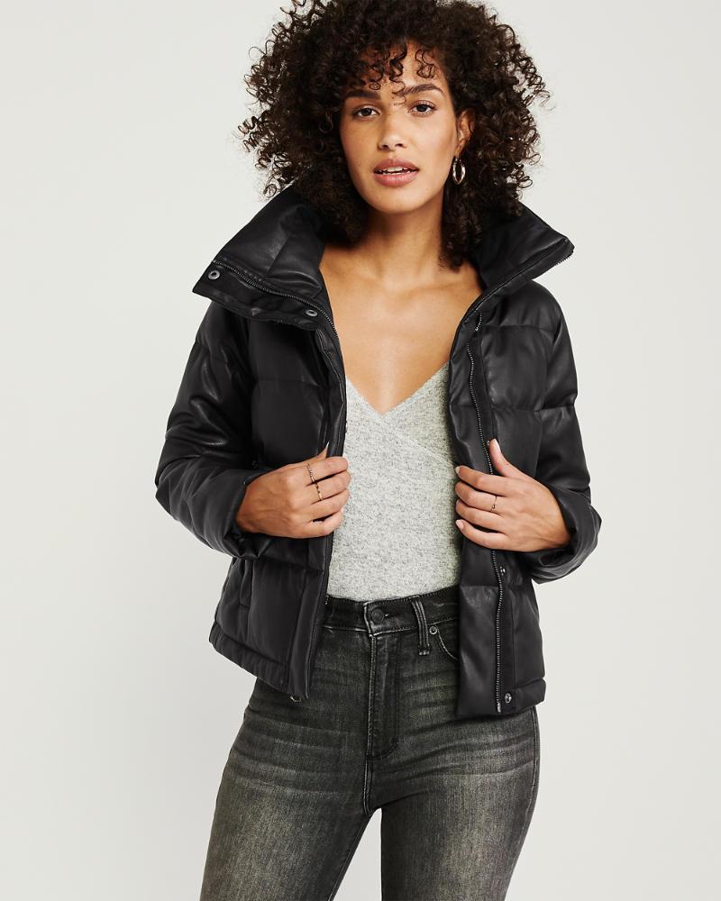 Womens Mini FauxLeather Puffer Jacket Womens Coats