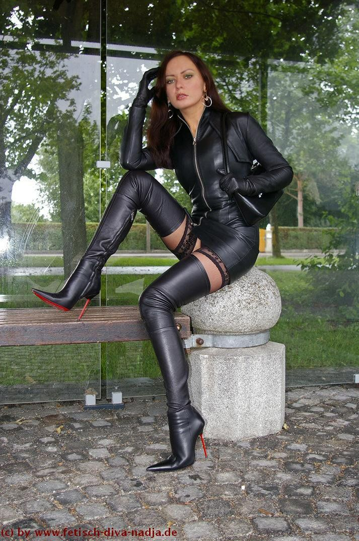 Boot fetish high leather photo skirt woman