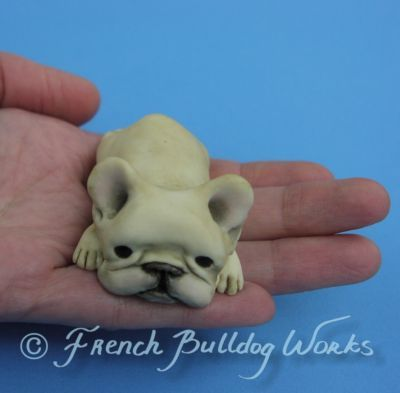 Original French Bulldog Bouledogue Sculpture Art Figurine lati doll Dasha Goux