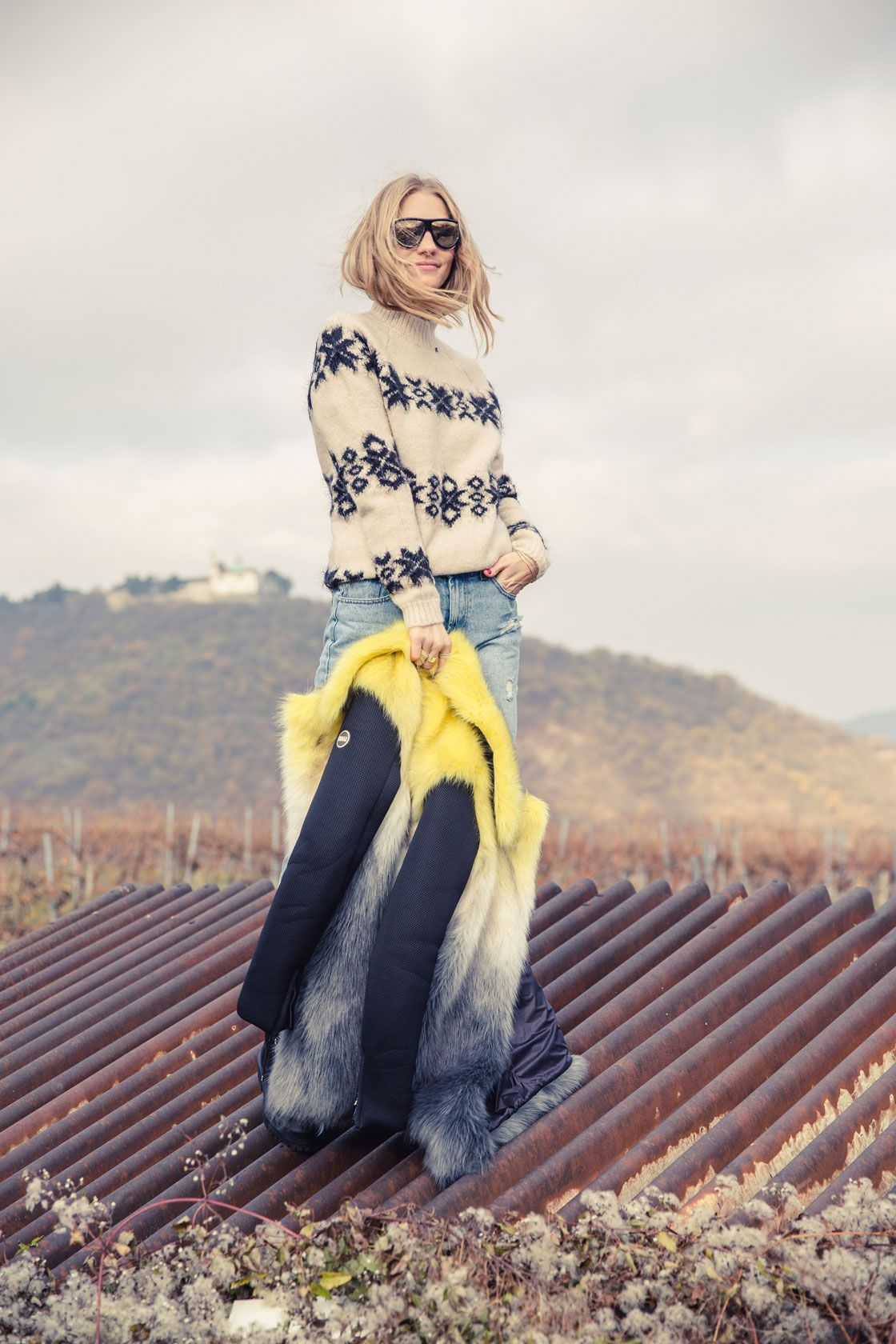 Ski Sunnies - POSCHSTYLE. Ivory printed sweater+boyfriend denim+black army style boots+black and yellow fur coat+sunglasses. Fall Outfit 2016