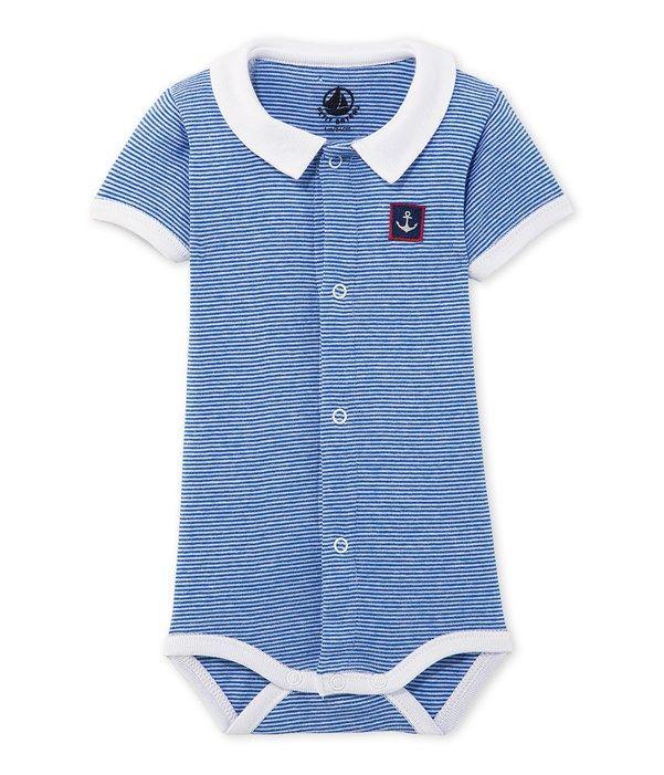 Body bébé garçon rayé 5000 raies Petit Bateau bleu 44965e37fde