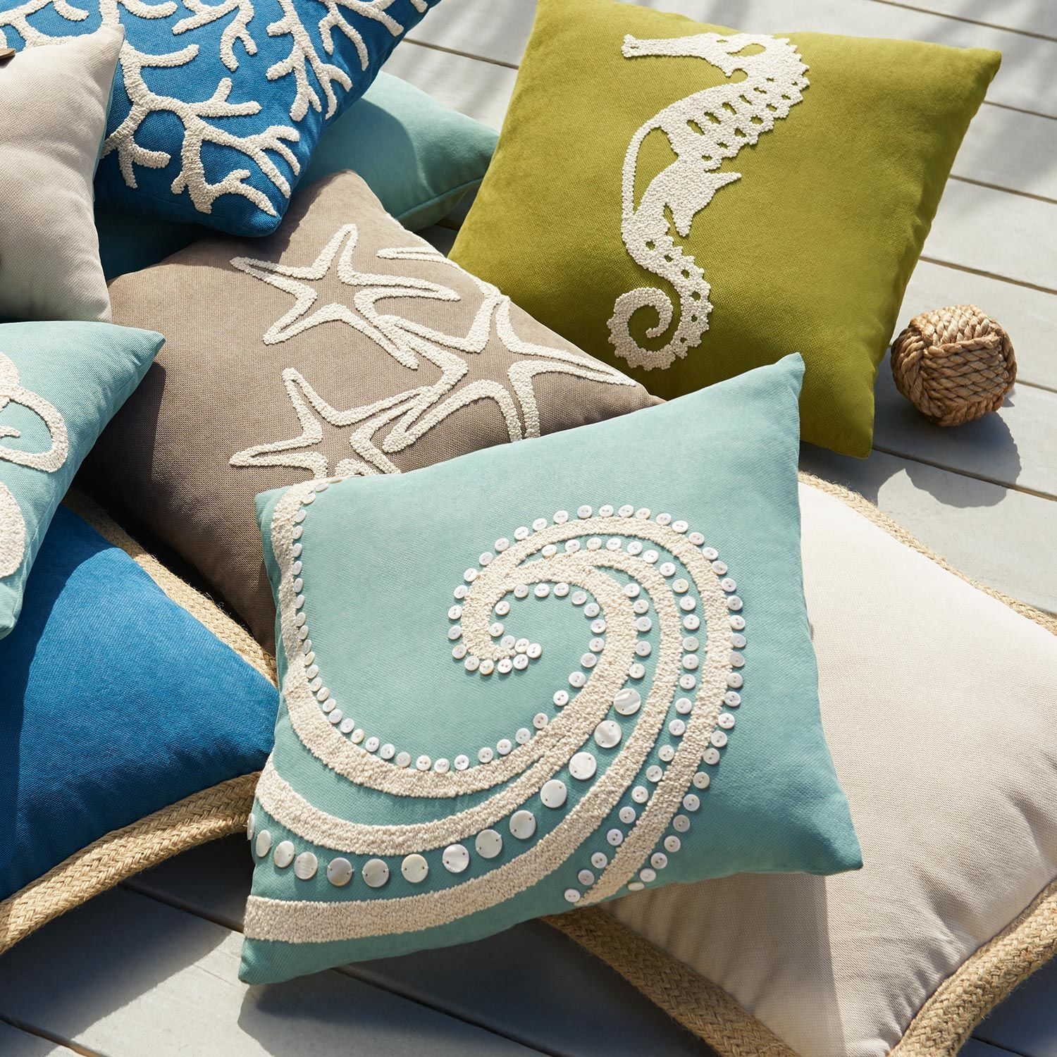 Mother Of Pearl Beaded Wave Pillow Pier 1 Imports