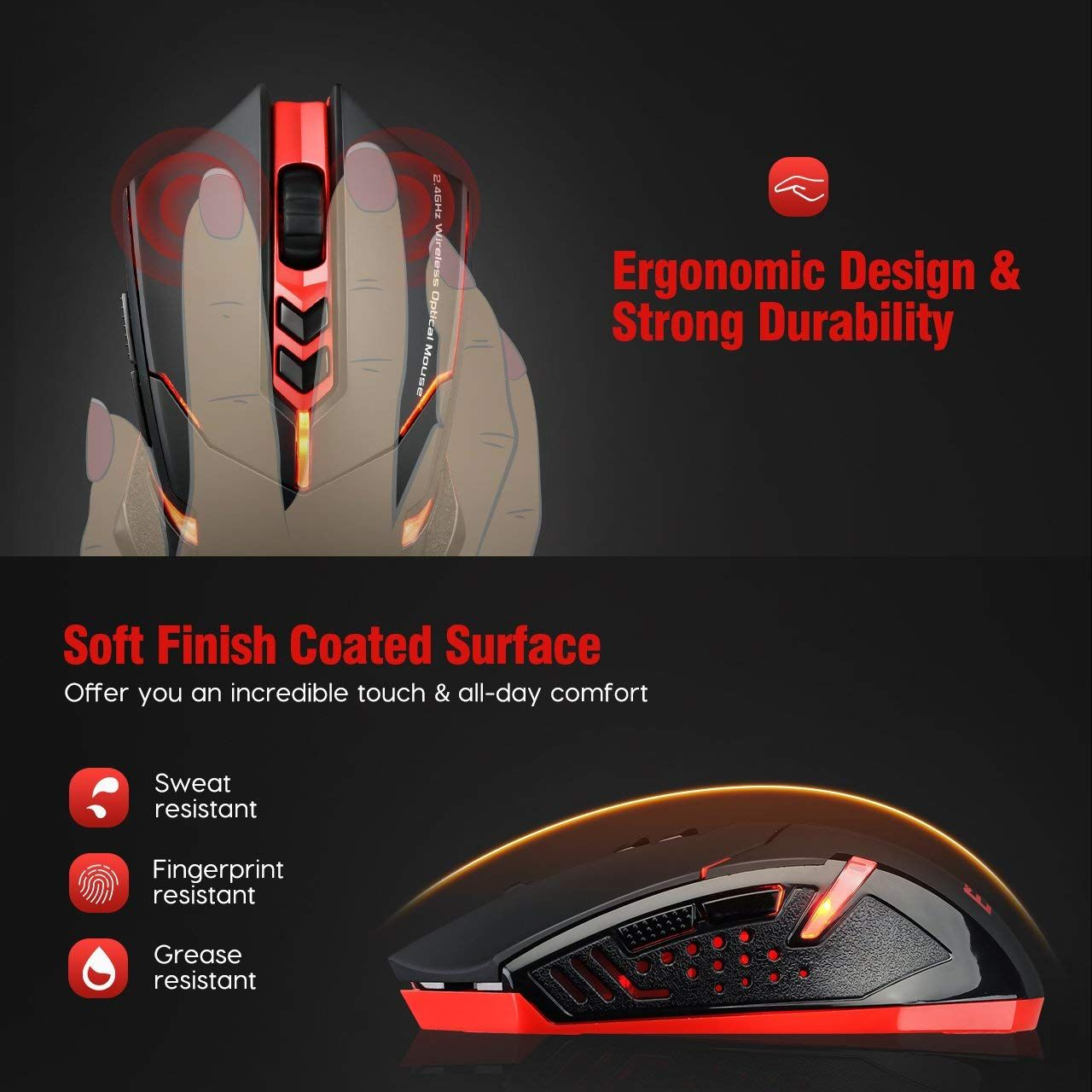 PICTEK Wireless Gaming Mouse for $15 99 ($4 off) ($34 13 off