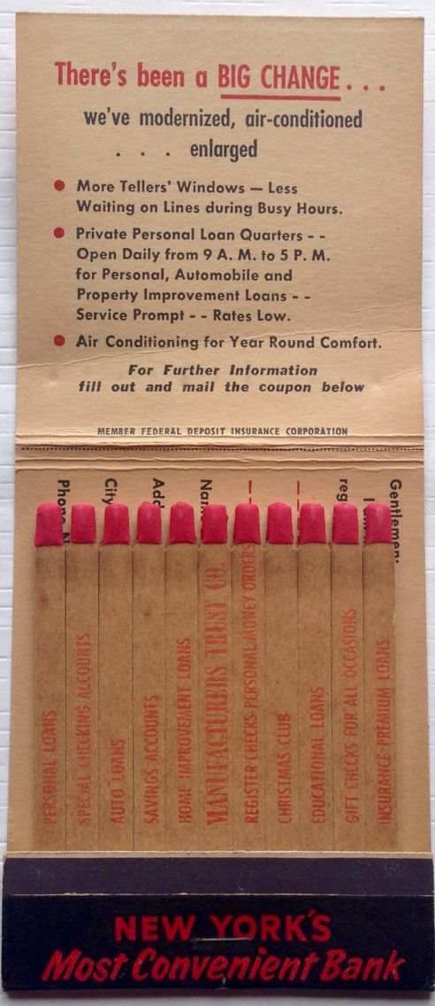Manufacturers Trust Bank 43 Beaver Street Nyc Giant Feature Matchbook To Design Order Your Business Own Logo Matches Goto Getmatches Com