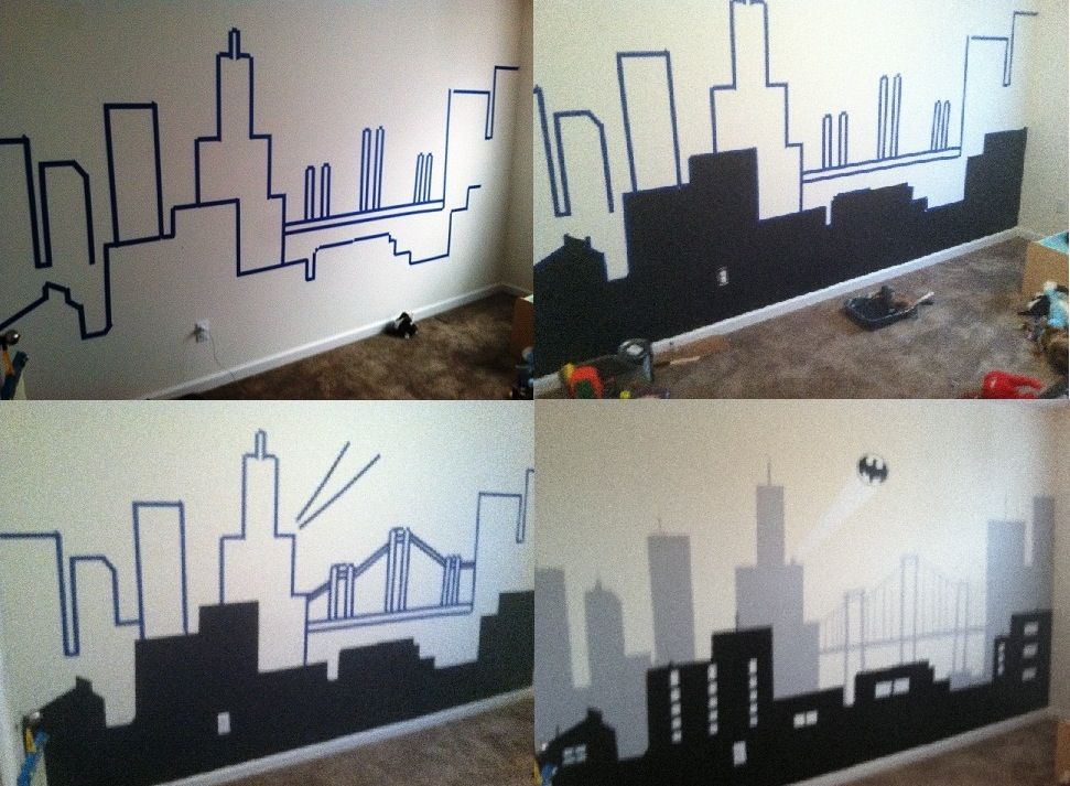 My batman gotham city wall mural home is where the heart for City themed bedroom ideas