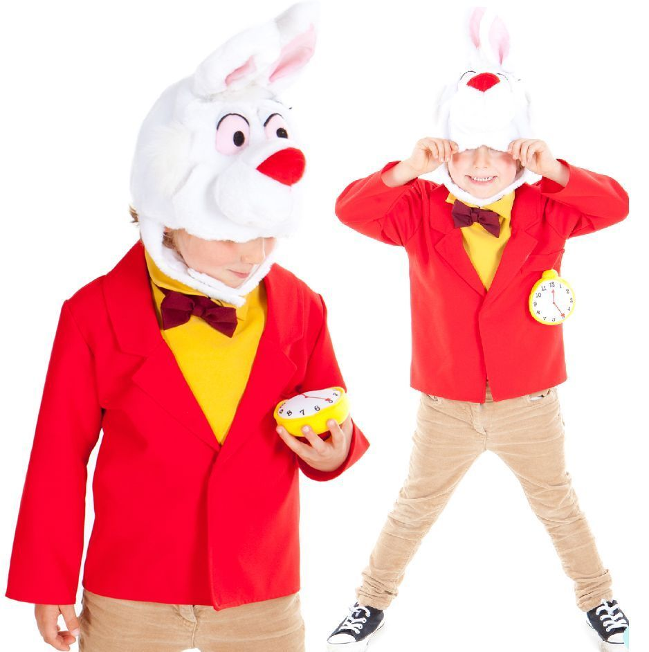 Diy white rabbit from alice in wonderland costume homemade bow tie boy s white rabbit alice in wonderland book day fancy dress up costume outfit solutioingenieria Images