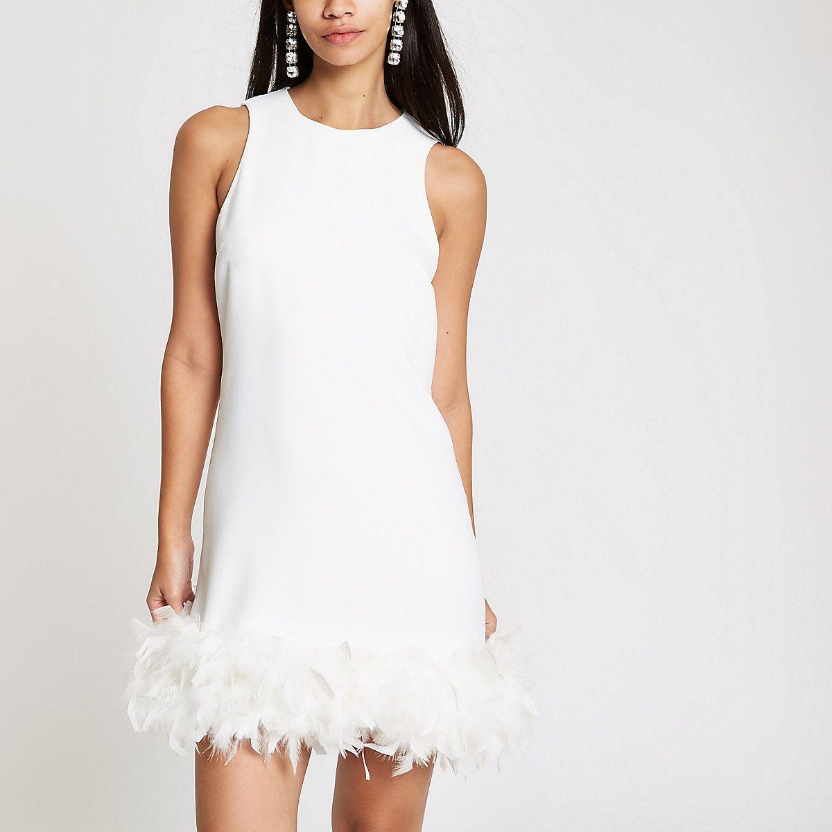 White Feather Trim Swing Dress Swing Dresses Dresses Women Giftryapp Swing Dress White Feather Dress Dresses