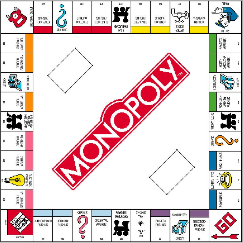 Monopoly Board Counted Cross Stitch Pattern By Frilly Flamingo By Jade Monopoly Board Monopoly Cards Monopoly