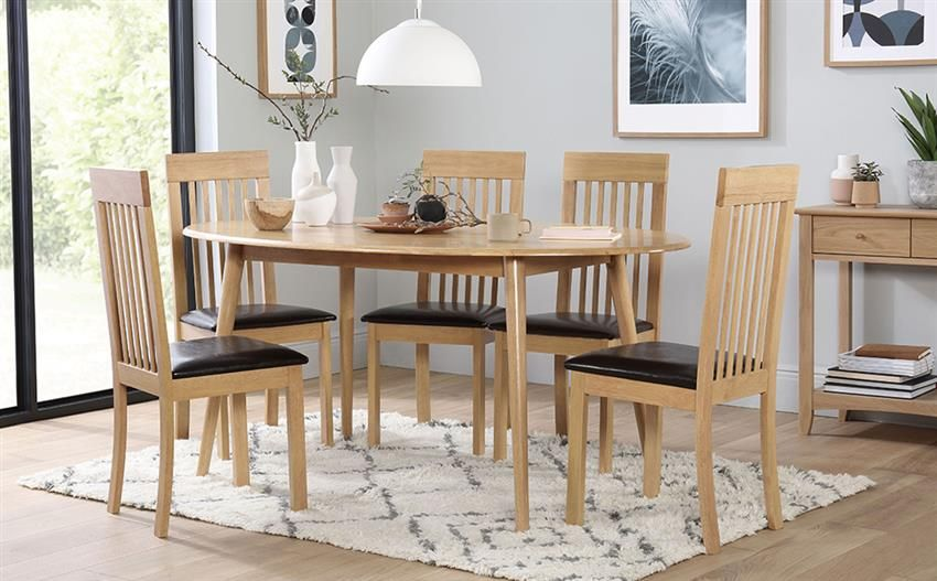 Suffolk Oval Oak Dining Table With Oxford Chairs Brown Seat Pad - Oval oak dining table and 6 chairs