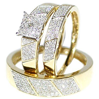 His Her Wedding Rings Set Trio Men Women Yellow Gold Hurry Check Out This Great Product Bridal Sets