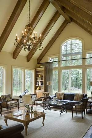 High Vaulted Ceilings With Wood Beams Craftsman Style House Plans House House Plans