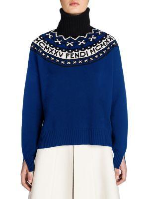 FENDI Fair Isle Wool & Cashmere Turtleneck Sweater. #fendi #cloth ...
