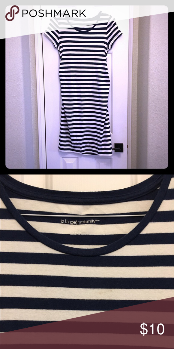 Maternity dress. Navy blue and white stripe maternity dress by Liz Lang. Very comfortable knit cotton. Length is a few inches above the knee. Liz Lange Dresses Midi