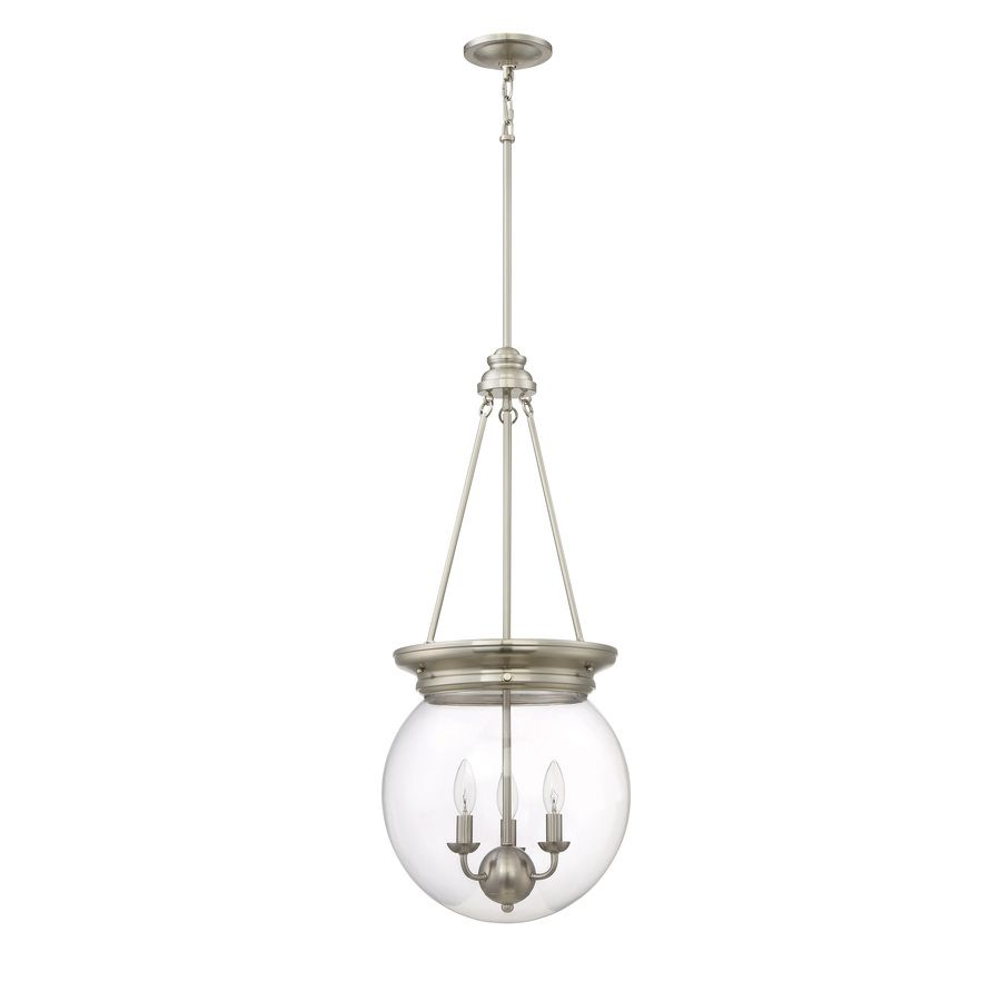 Lowes Pendant Lighting Glamorous Shop Quoizel Soho 135In W Brushed Nickel Pendant Light With Clear Decorating Inspiration