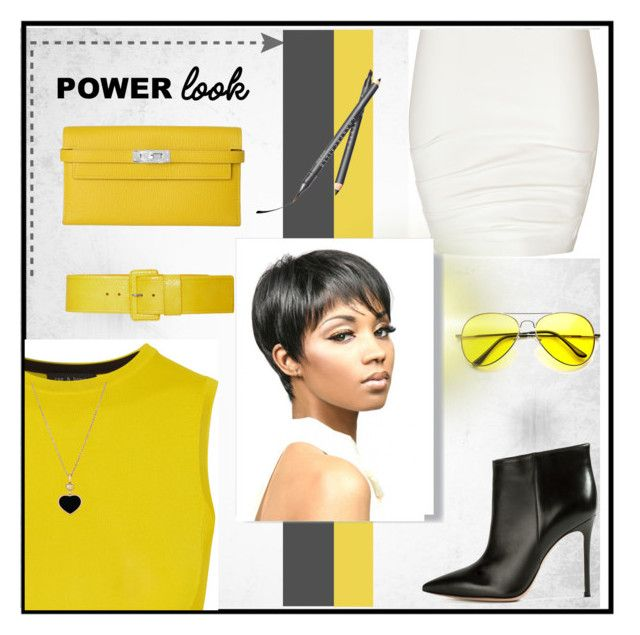 """""""Yellow Power"""" by nanni33 ❤ liked on Polyvore featuring Gianvito Rossi, Hermès, rag & bone, Donna Karan, Chantecaille, Chopard and WithChic"""