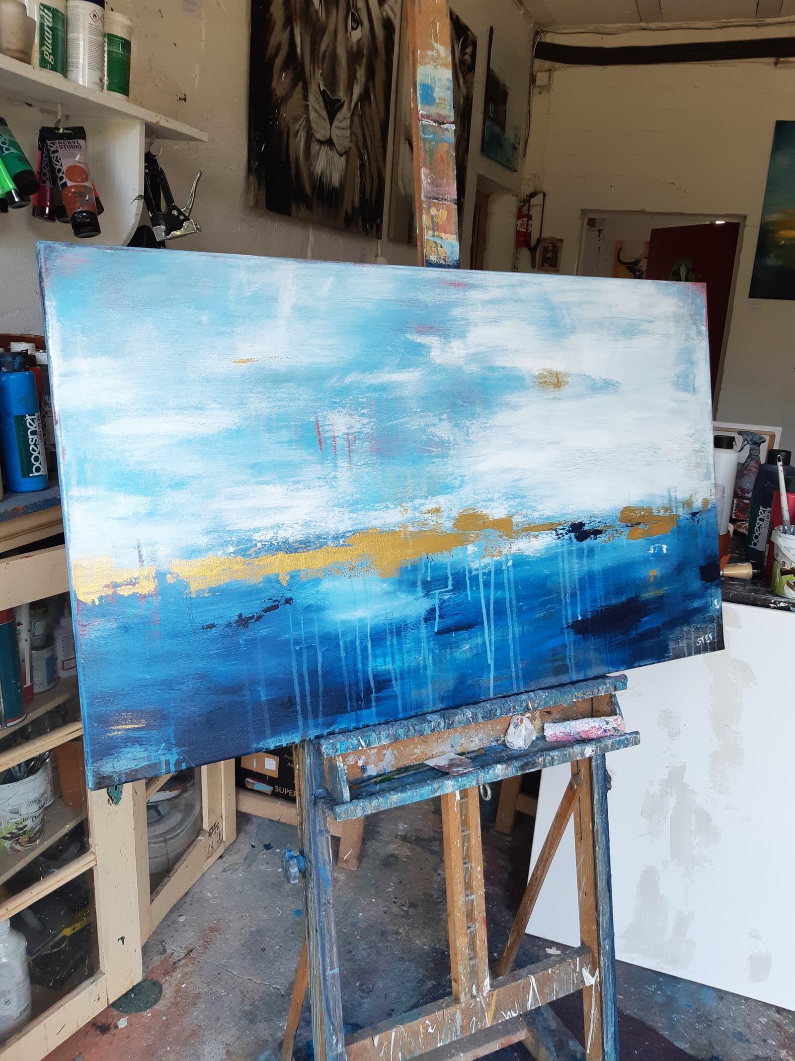 noch ein tag am meer 2 bild abstrakt in blau und gold abstrakte malerei diy blaue bilder acryl malen berühmte