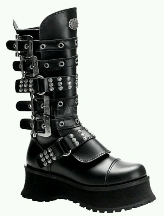 Mens Gothic Platform Boots by Demonia. Black leather Demonia mens gothic  platform boots with strap front and grommet detail.