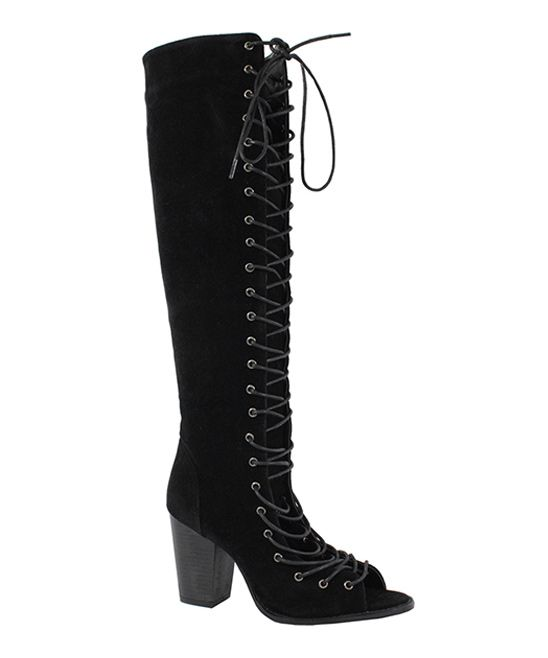 Black Lace-Up Brie Peep-Toe Boot