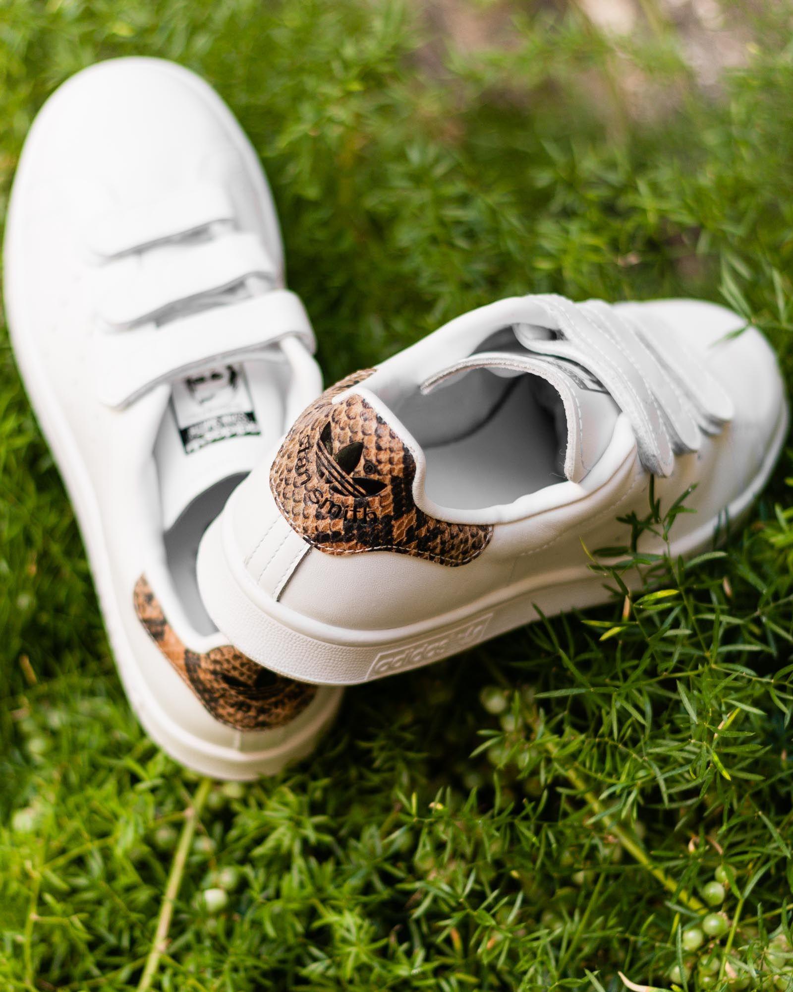 adidas Originals - Stan Smith - Baskets avec arrière en peau de serpent Q6pfM6