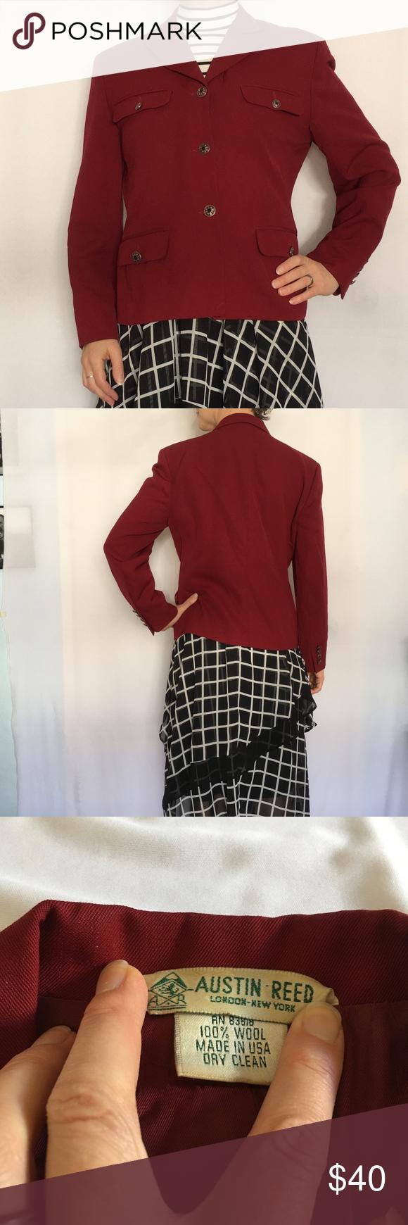 Vintage Austin Reed Red Wool Blazer Wool Blazer Vintage Austin Womens Black Blazer