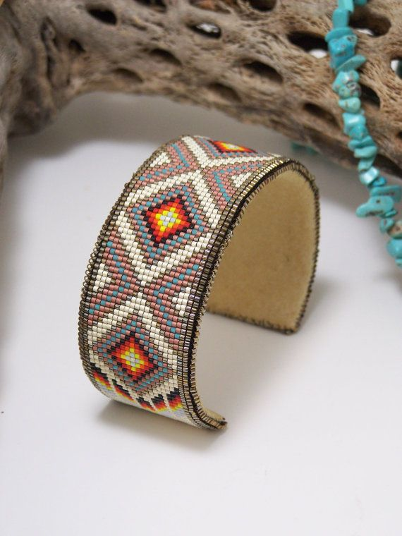 Beaded Leather Cuff Bracelet Beaded Cuff Bracelet Cuff Peyote Beaded Bracelet Bracelet Glass Bead and Leather Cuff