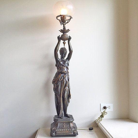 Vintage Victorian Maiden Figural Newel Post Lamp Victorian Lighting Lamp Victorian