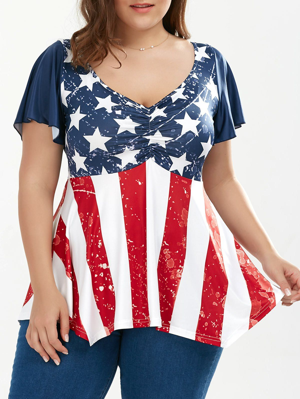 Ruched Plus Size Patriotic Tunic American Flag Top  Tops Products
