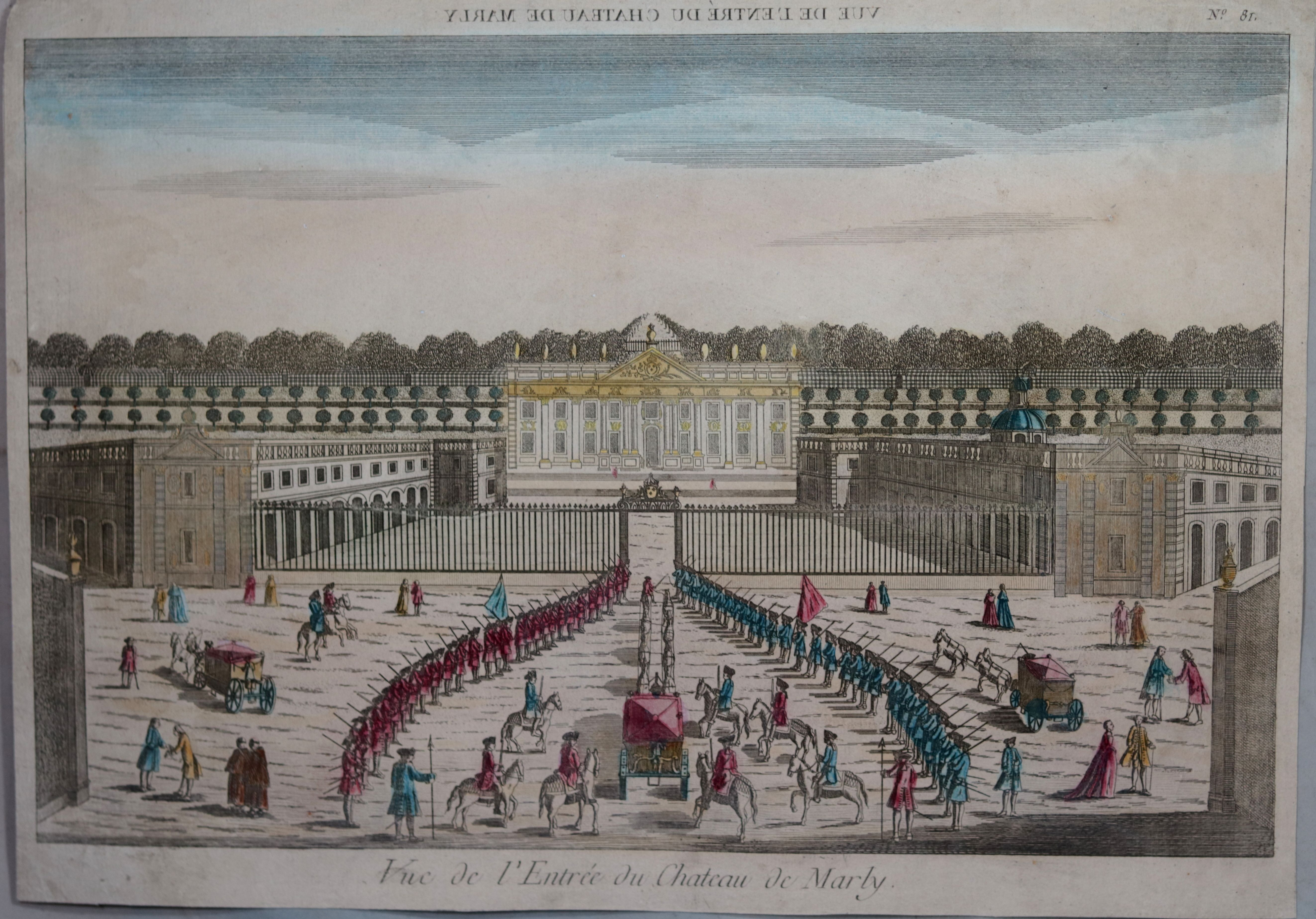 Vue Optique Vue De L Entree Du Chateau De Marly C 1790