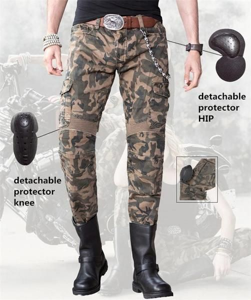 Camo Cargo, W40 - L32 Mens Motorbike Motorcycle Padded Safety Protective Lining Camo Cargo Trouser Jean Pant 6 Pocket with Padding