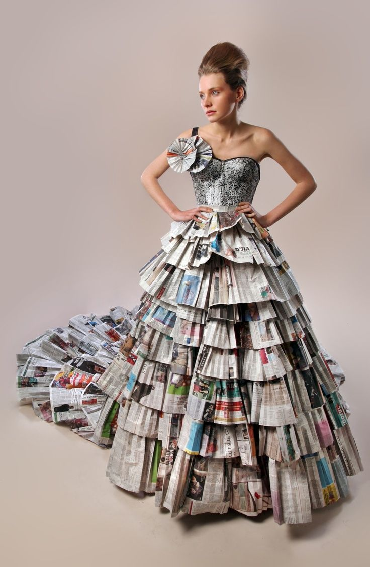 Fashion made from newspaper recycable dresses