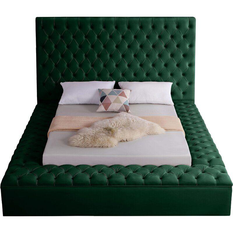 Velvet Upholstered Bed, Nice Queen Bed Frames