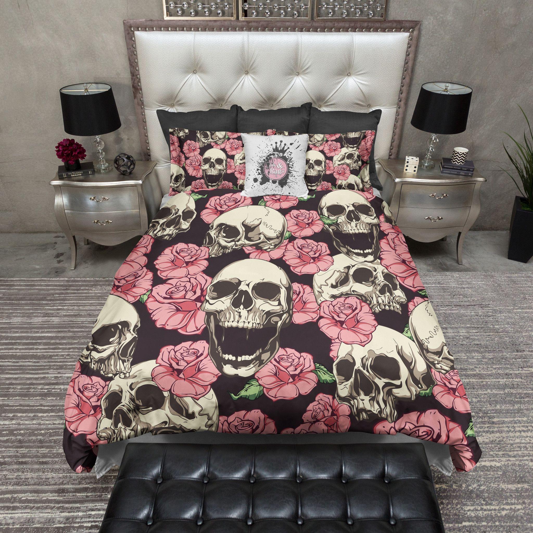 Pink Rose And Human Skull Bedding Bed Linens Luxury Duvet Bedding Sets Bed Linen Sets