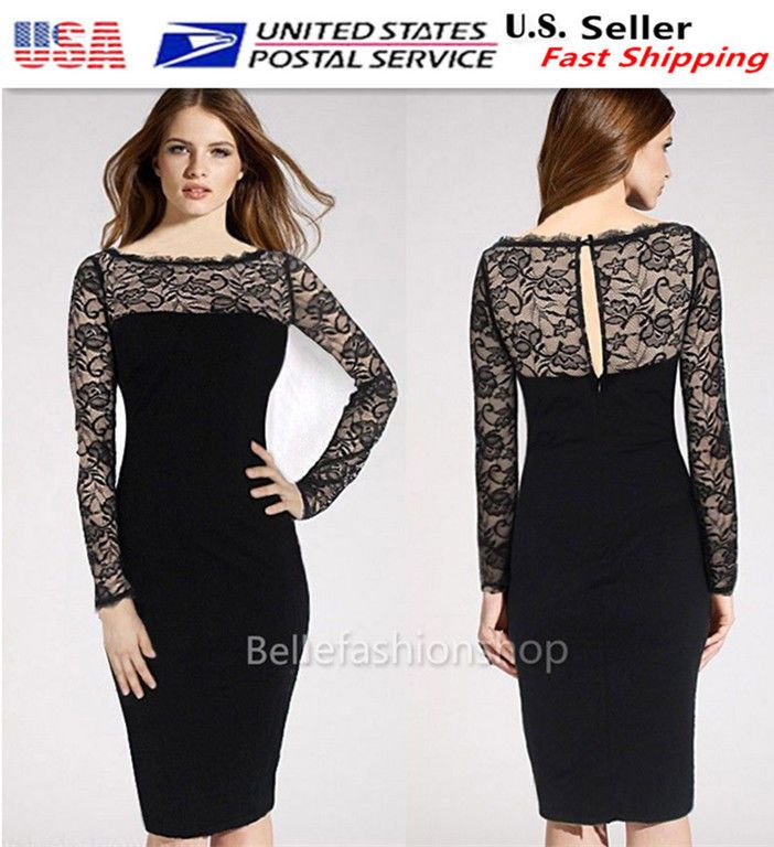 9a92a00f6146 Women's Vintage 1950S Evening Party Formal Business Casual Bodycon Dress  024C