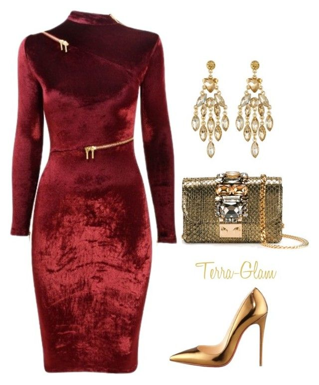 """Velvet Vixen"" by terra-glam ❤ liked on Polyvore featuring Agent Provocateur, Christian Louboutin, GEDEBE and Nordstrom Rack"