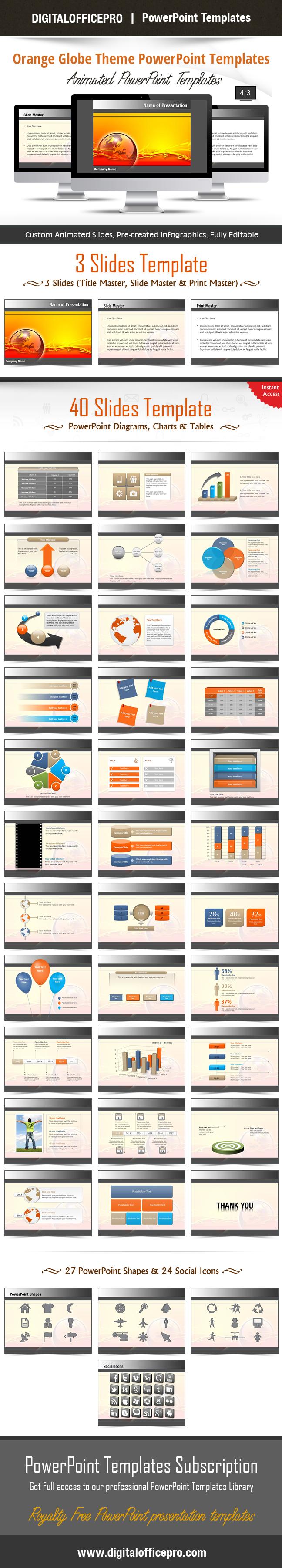 Orange globe theme powerpoint template backgrounds toneelgroepblik Images