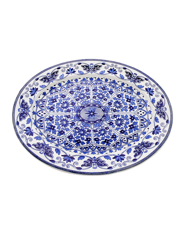 Lynn G. Feld Antiques Antique Blue/White English Art Nouveau Platter