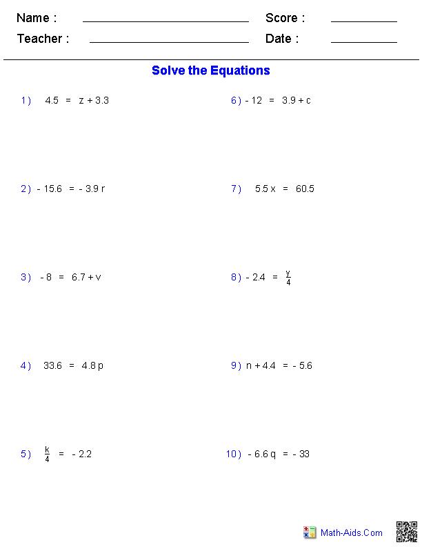 One Step Equations Worksheets Containing Decimals Math Aids Com