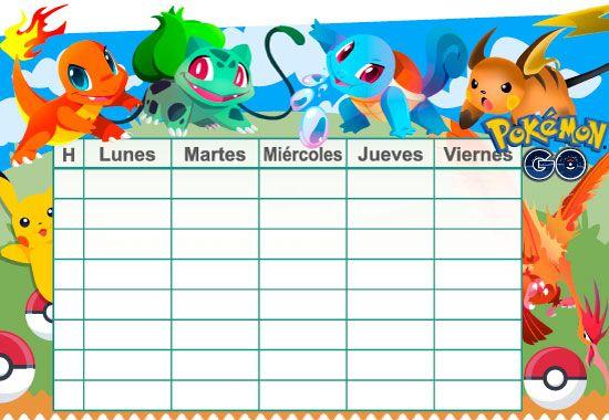 Horario escolar Pokémon Go todocolor