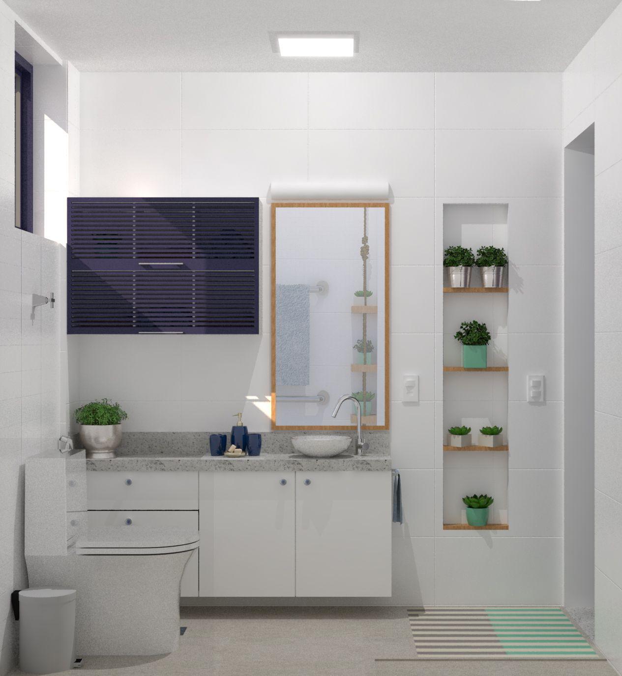 Reforma De Banheiro: (1) Nicho Externo Com Porta De Veneziana De Madeira (