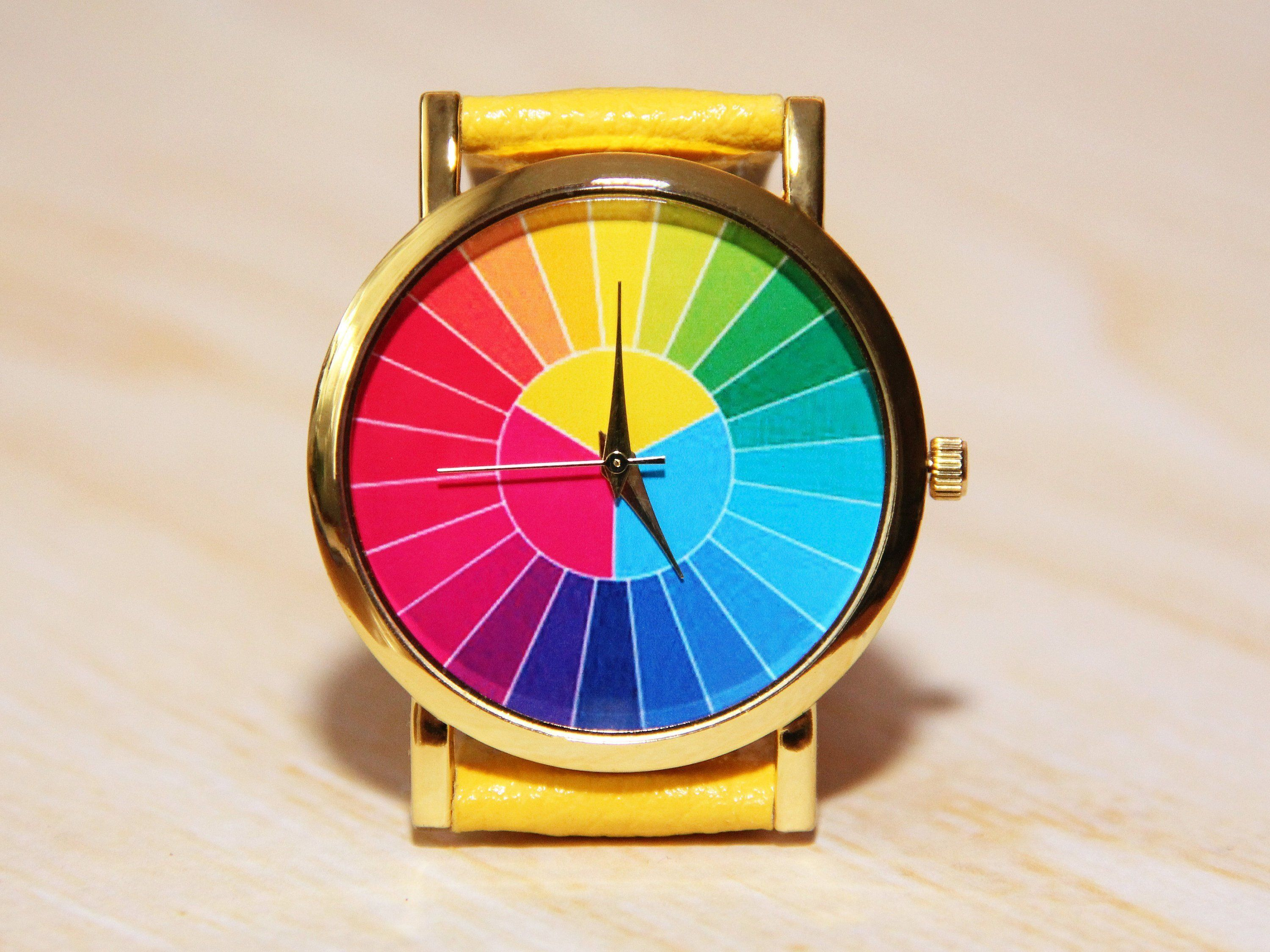 Color Wheel Watch Men S Watch Colorful Watches Etsy Wedding Watch Holiday Watch Childrens Watches