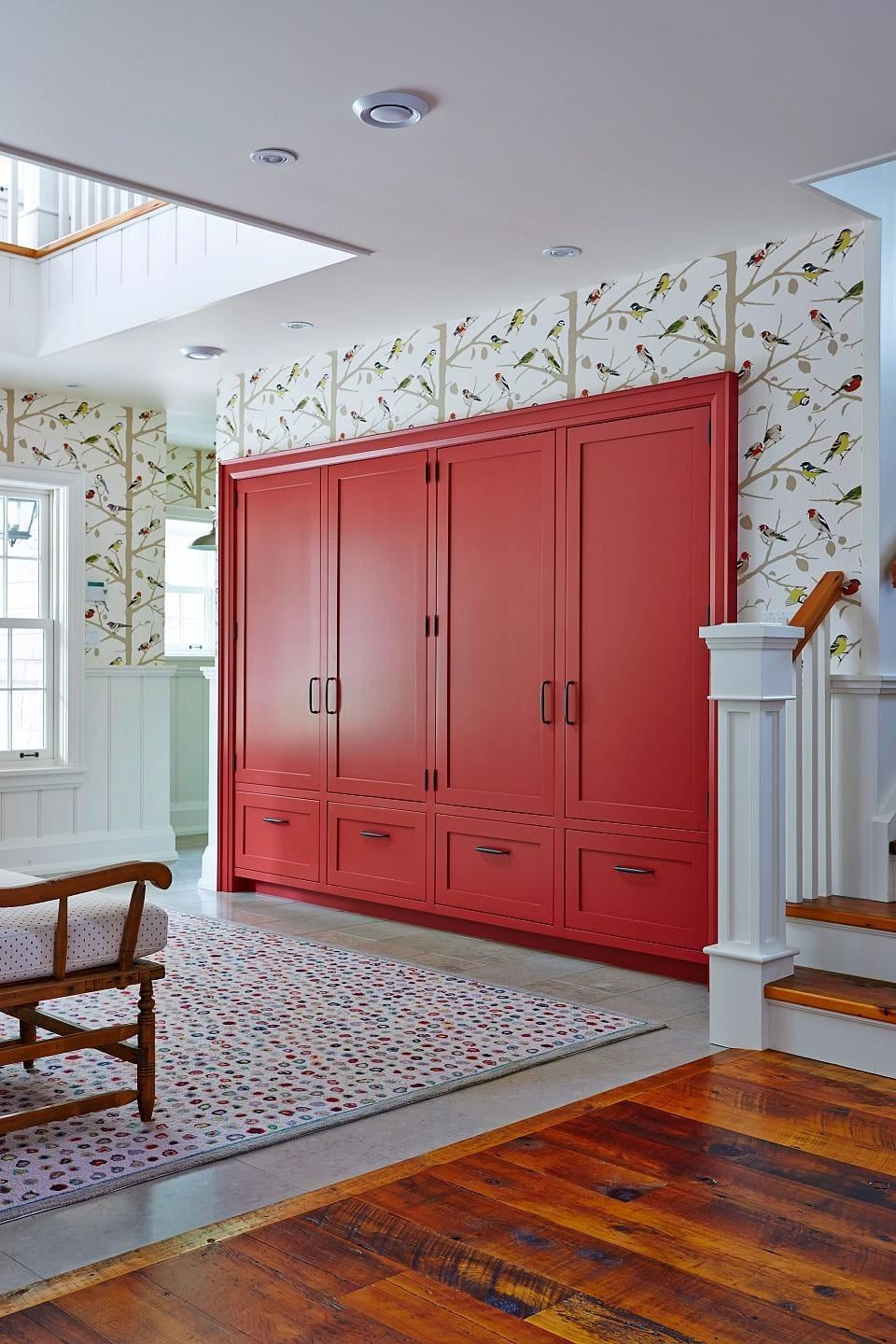 Attractive Family Friendly Beach House   Bold Red In Wall Storage Cabinet