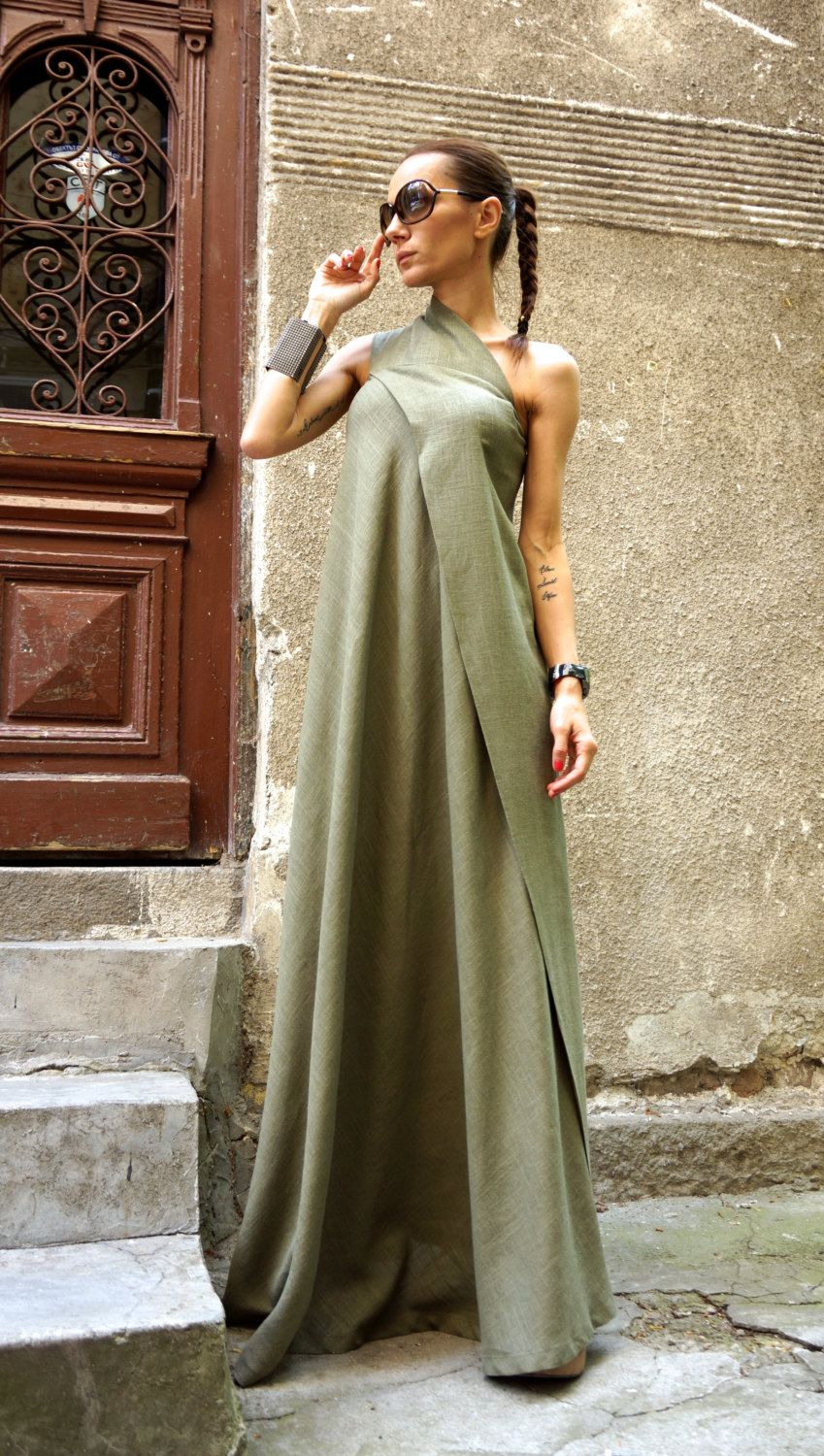 New maxi dress olive green kaftan linen dress one shoulder dress
