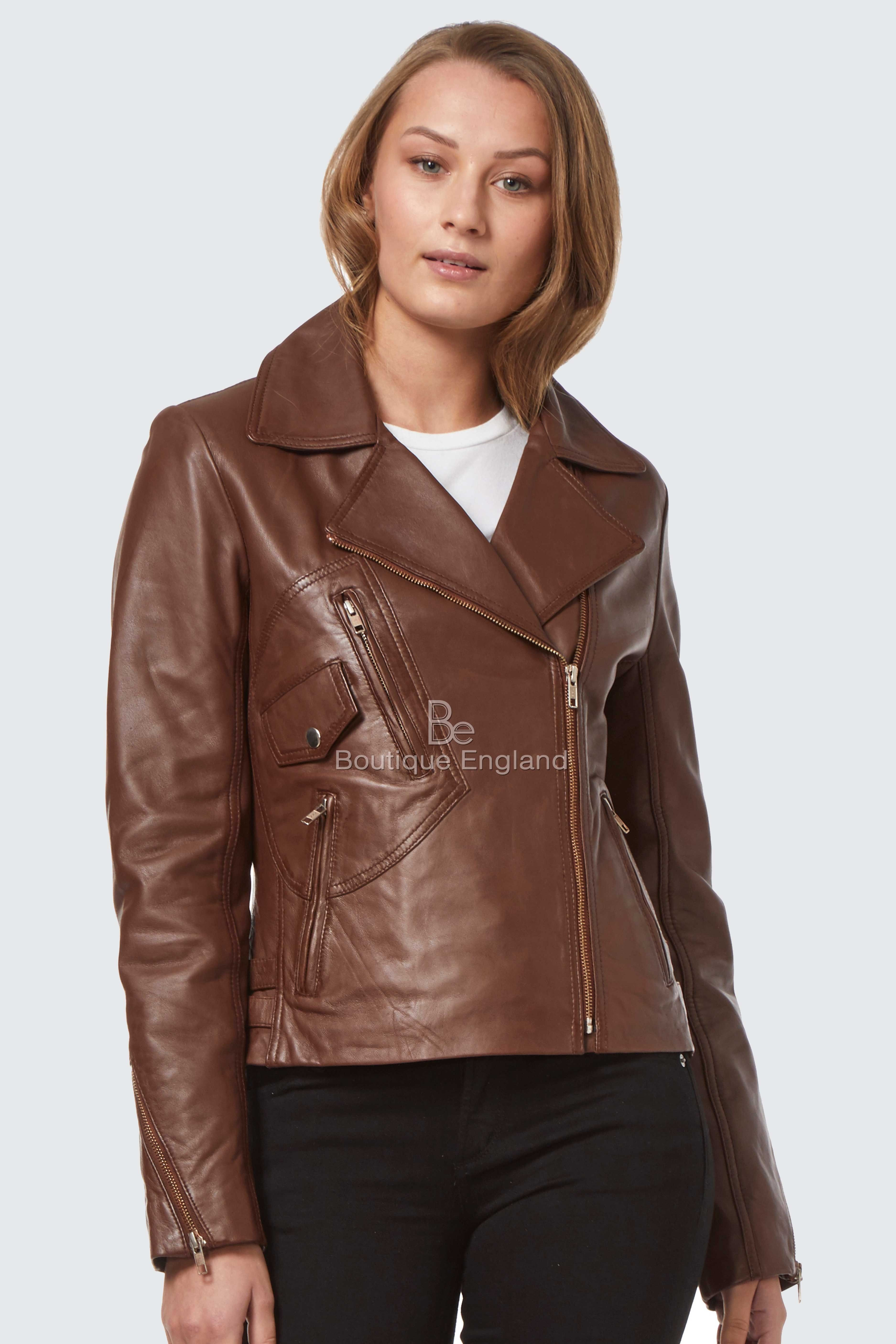 Ladies Brown Long Feminine Soft Genuine Leather Biker Trench Jacket