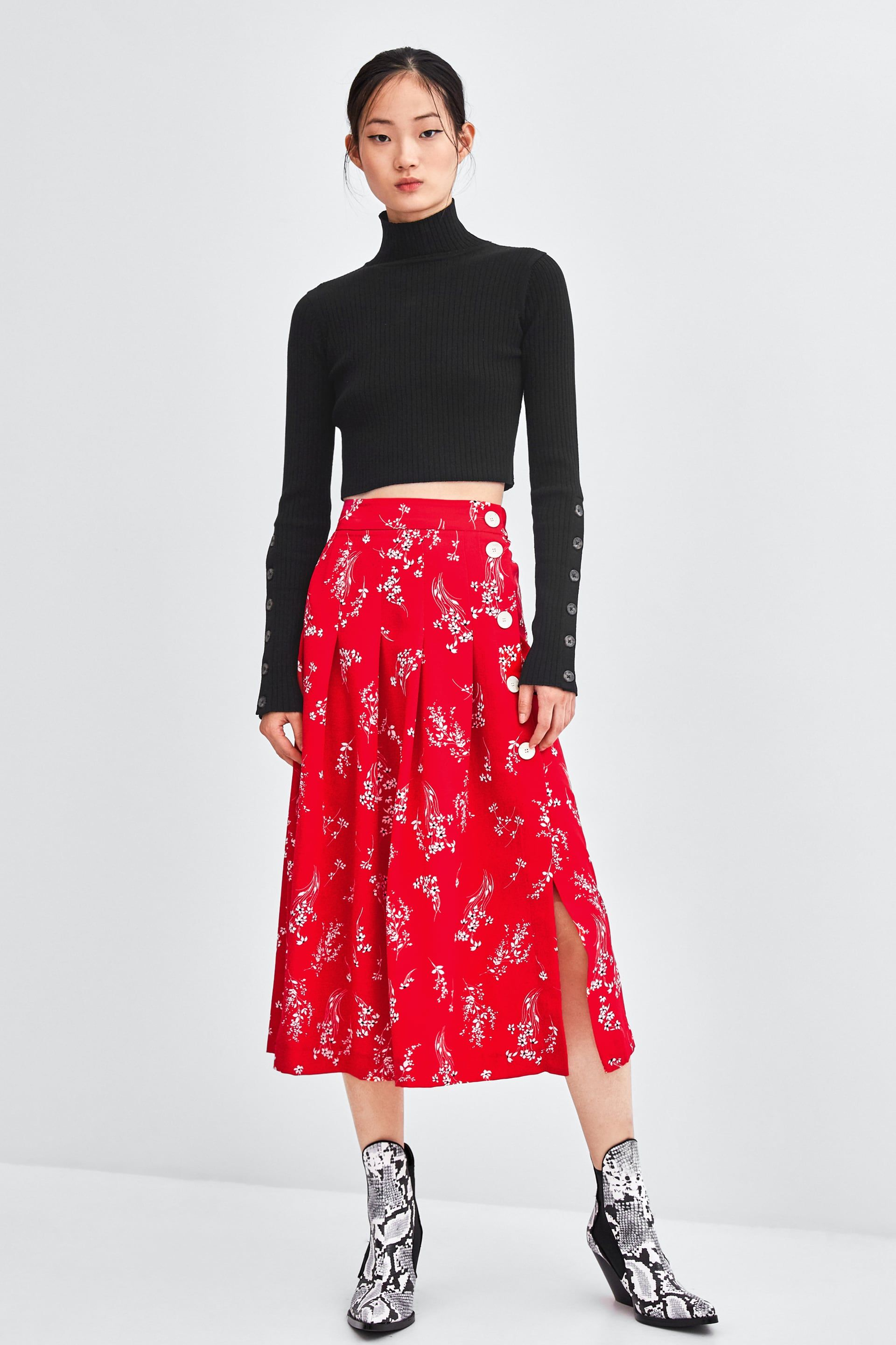 ac0acf63bb0 ZARA - WOMAN - FLORAL MIDI SKIRT