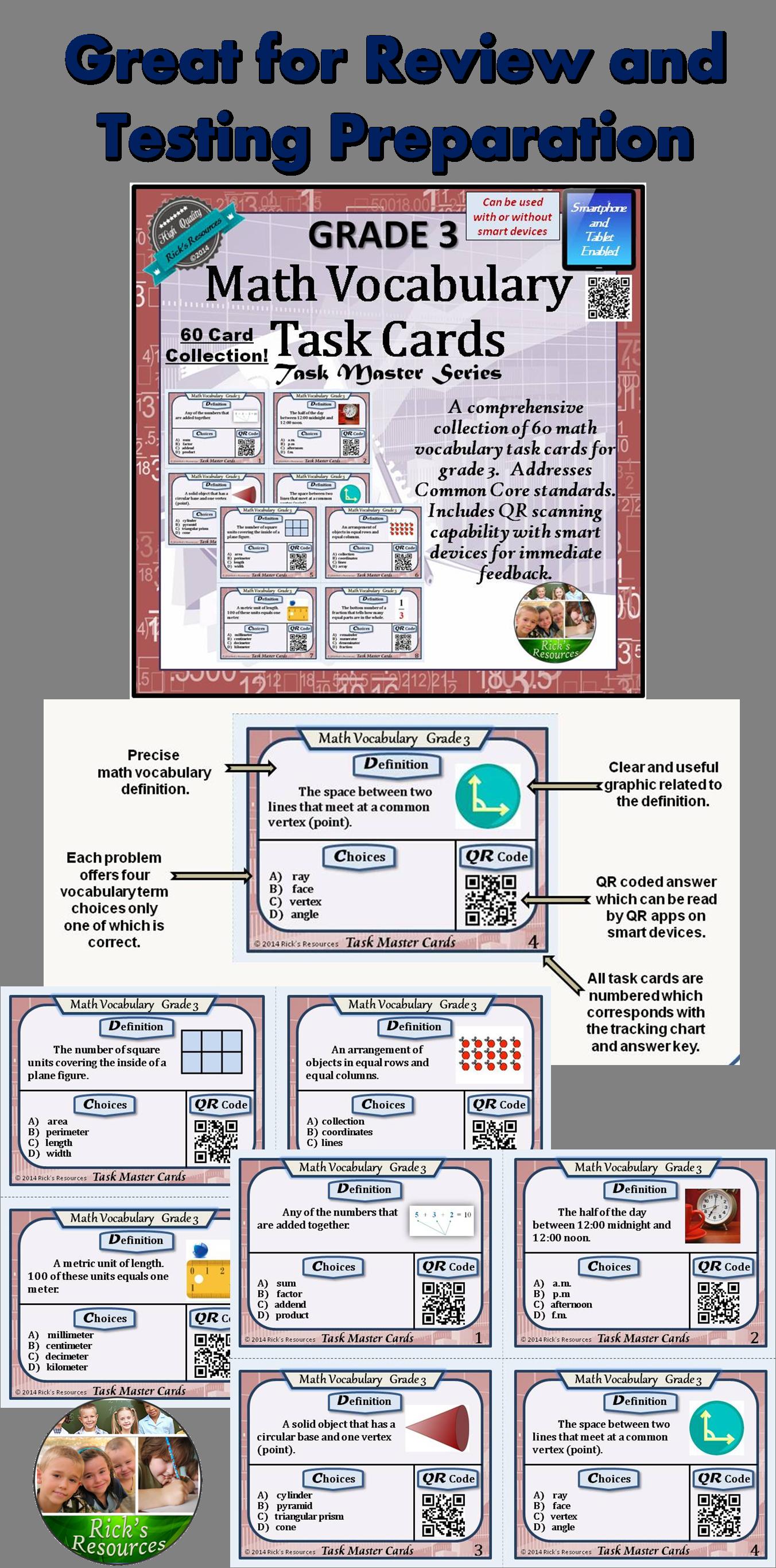 Math Vocabulary Activity Cards 3rd Grade