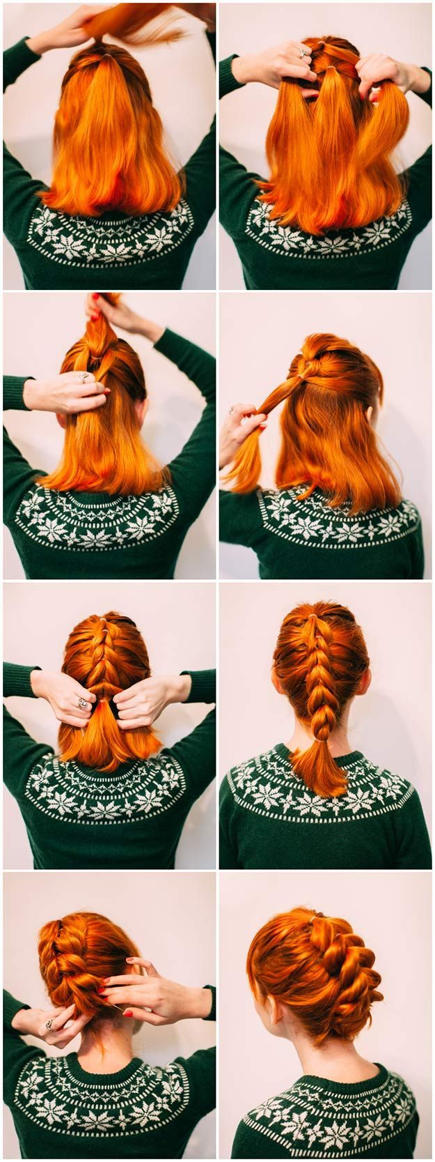 Quick and easy short hair styles faux braids shoulder length hair