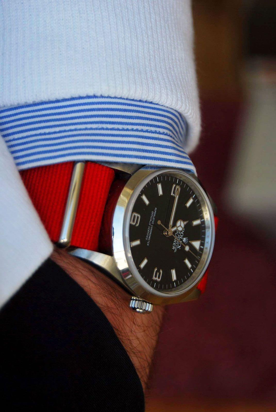 Rolex Explorer I with Red NATO Strap | Time | Rolex ...