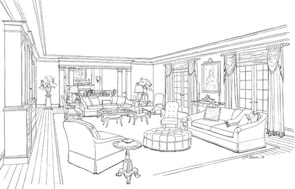 Interior Design Black And White Sketches